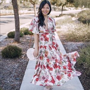 Pink and red floral maxi dress